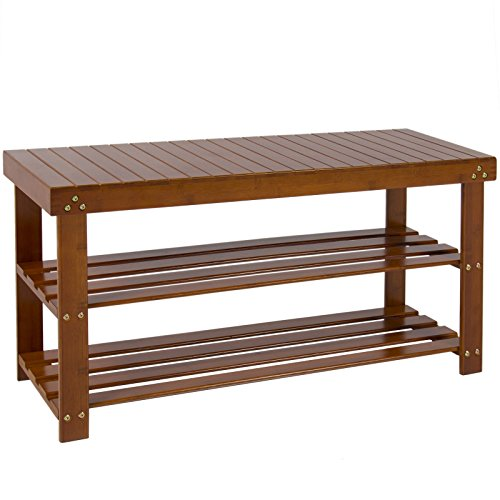 Shoe Bench 2-Tier Brown Bamboo Boot Storage Racks Shelf Organizer (Making Lahore Modern compare prices)