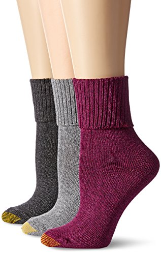 Gold Toe Women's Combed Cotton Bermuda Sock (Pack of 3), Italian Plum/Grey Heather/Dark Charcoal, 6-9 - Gold Bermuda