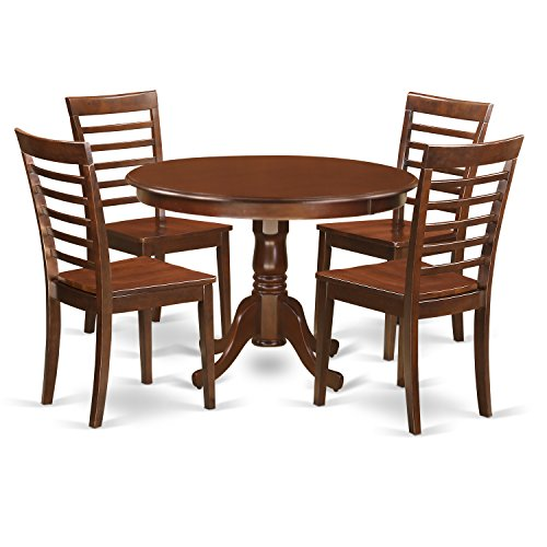 East West Furniture HLML5-MAH-W 5Piece Hartland Set with One Round 42in Dinette Table & 4 Kitchen Chairs with Wood Seat in a Attractive Mahogany Finish