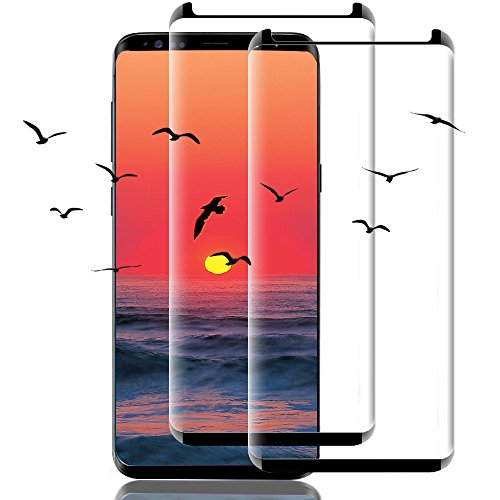 [2 Pack] Galaxy S9 Screen Protector, 3D Full Screen Coverage Glass [Curved] [Bubble-Free] [9H Hardness]...