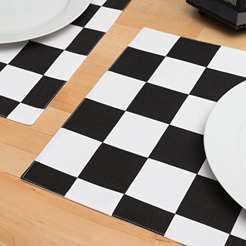 Black & White Checker Board Placemats 4/Pack