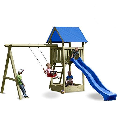 WICKEY Premium Spielturm S mit Schaukel, Sandkasten und blauer Rutsche