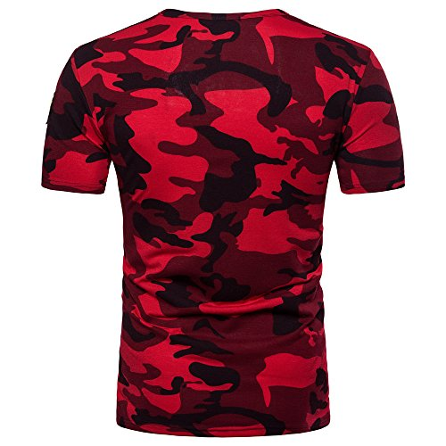 OrchidAmor 2019 New Men's Casual Camouflage Print O Neck Pullover T-Shirt Top Blouse Mens Moisture Wicking Shirts