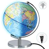 "Best Illuminated Globes - Illuminated World Globe lamp- Larger Size 12""-2-in-1 Geographic Review"