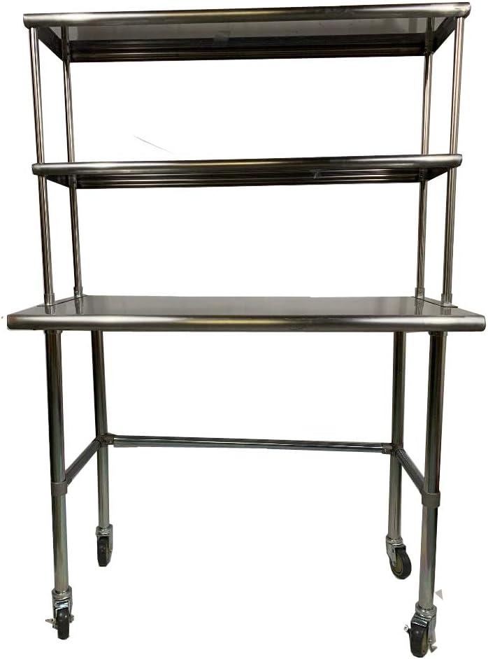"Stainless Steel Work Prep Table 36/""x 24/"" with Adjustable Double Overshelf"