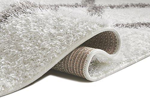 Well Woven Soft Artisan Corsa Miraculous Modern Shag Trellis Geometric White Plush Area Rug 6'7″ x 9'3″