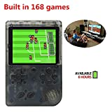 Handheld Game Console, Retro FC Game Console,Entertainment System Video Game Console with 3 Inch 168 Classic Games, Birthday Present for Children (Transparent Black)