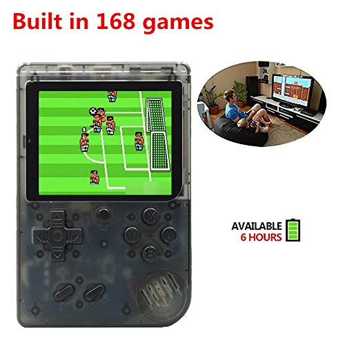 Handheld Game Console, Retro FC Game Console,Entertainment System Video Game Console with 3 Inch 168 Classic Games, Birthday Present for Children (Transparent Black) by ANBERNIC