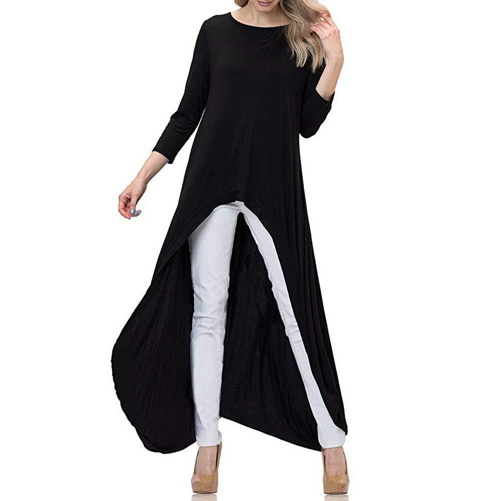 NUWFOR Women's Lantern Long Sleeve Round Neck High Low Asymmetrical Irregular Hem Casual Tops Blouse Shirt Dress(Black,S)