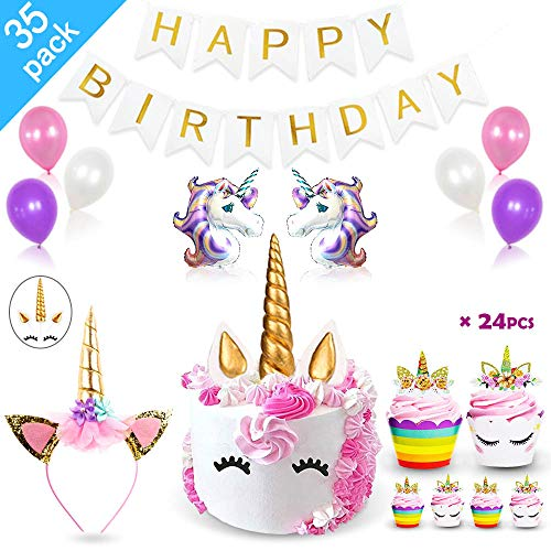 Price comparison product image Daisyformals Unicorn Party Supplies Decorations with Unicorn Cake Topper, Unicorn Headband, 24 Pcs Unicorn Cupcake Toppers Wrappers and Happy Birthday Banner + Unicorn Balloons Party Ballons (35 Packs)