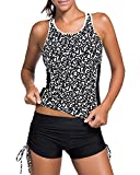 Yonique Women 2 Piece Racerback Mesh Strappy Tankini Top Boyshort Swimsuit Black