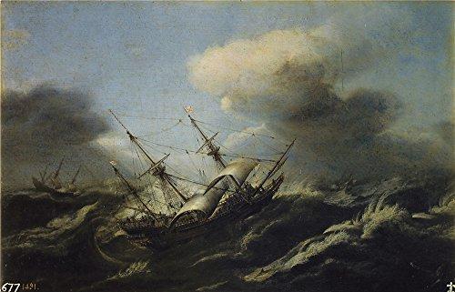 Oil Painting 'Wou Claes Claesz. (Attributed To) Navios En Una Tormenta 17 Century', 16 x 25 inch / 41 x 63 cm , on High Definition HD canvas prints is - Best Eyeglasses Seattle