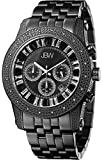 JBW Krypton Men?s 20 Diamonds Chronograph with Date Black Ion Stainless Steel Band Watch [Jb-6219-L]
