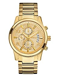 Guess Men's Stainless Steel Casual Bracelet Watch, Color Gold-tone (Model: U0075g5)
