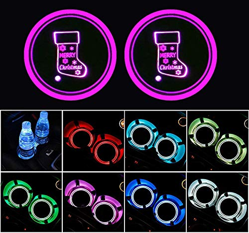 ZhengRong LED Car Cup Pad led Cup Coaster USB Charging Mat Luminescent Cup Pad LED Mat Christmas Holiday Lights Coaster 7 Colors Merry Christmas Light 2 Piece - Christmas -