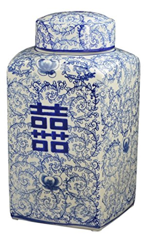 "Festcool 12.5"" Classic Blue and White Porcelain Floral Square Jar Vase, China Ming Style, Jingdezhen, Double Happiness"