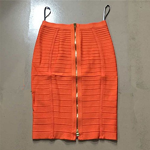 Knee Waist High Rayon Orange Bandage Stripe Length HLBandage Skirt AqUtPwdA