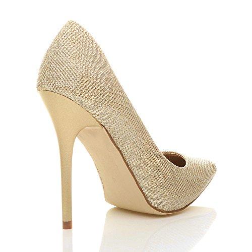 Femmes talon haut fête élégante escarpins de travail chaussures pointue taille Or Scintillante Paillettes QPLlppjg9A