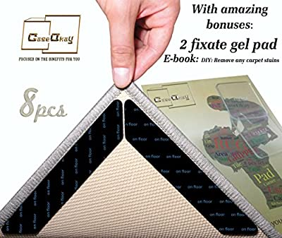 CaseOkay Rug Grippers Premium 8 pcs Anti Curling Rug Gripper Pad for Hardwood Tiles Floors. Renewable Anti-slip Carpet Gripper Tape for Indoor & Outdoor use - Best Protector for Rug Corners & Edges.