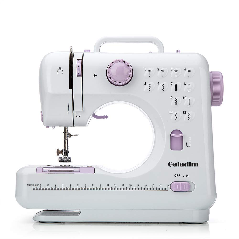 Sewing Machine by Galadim (Purple, 12 Stitches, 2 Speeds, LED Sewing Light, Foot Pedal) - Electric Overlock Sewing Machines - Small Household Sewing Handheld Tool GD-015-S by Galadim