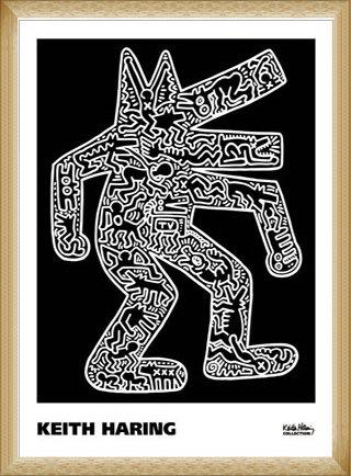 ポスター キース ヘリング Dog 1985 額装品 ウッドベーシックフレーム(ナチュラル) B071X45XG6 ナチュラル ナチュラル