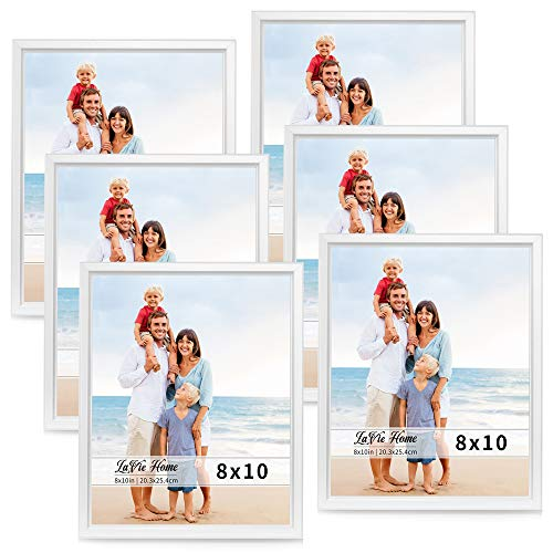 LaVie Home 8x10 Picture Frames (6 Pack, White) Simple Designed Photo Frame with High Definition Glass for Wall Mount & Table Top Display, Set of 6 Classic Collection ()