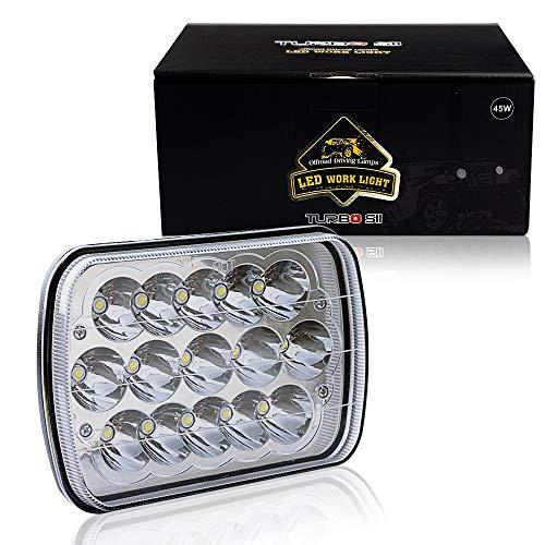 DOT APPROVED TURBOSII 45w Rectangle 5x7 7x6 Led Headlights Hi/Low Led Sealed Beam H6054 H5054 6052 Headlight For Jeep Wrangler YJ Cherokee Xj Toyota pickup International Motorhome Truck 1PCS ()