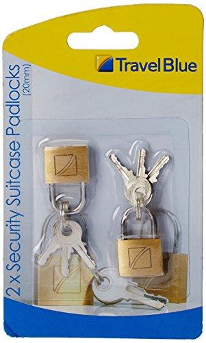 Travel Blue 2x Sicherheitsschloss, messing, Bügelweite 20mm, 021