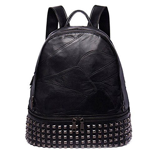 Clearance! Christmas big sales! NAWO Women's genuine sheep leather Backpack Casual Daypack Handbags School Rivet Bag for Ladies & Girls-Black