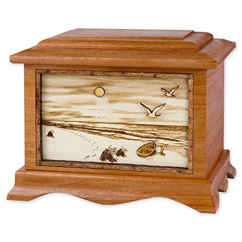 Wooden Beach Art Funeral Urn - Ambassador Cremation Urn for Adults with Sandy Beach 3-Dimensional Inlay Wood Art Memorial (Beach & Boat, Mahogany) (Mahogany Wood Boats)
