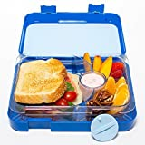 Bento Lunch Box-Blue- by mmmLunchBuddies-Double Leak Proof Container-New Dual Latch-Great for Kids or Adults + FREE INSULATED LUNCH BAG-Healthy Portion Plate-4 Compartment-Microwave-Dishwasher (Blue)