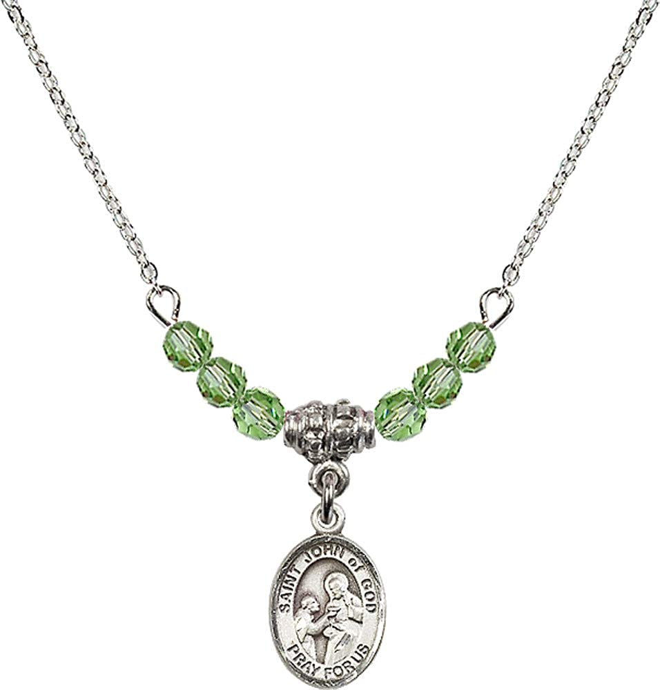 Bonyak Jewelry 18 Inch Rhodium Plated Necklace w// 4mm Green August Birth Month Stone Beads and Saint John of God