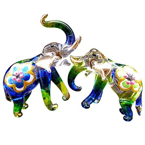 Lucky Elephant Glass Figurine - Sansukjai 2 Elephants Figurines Animals Hand Painted Green Blue Hand Blown Glass Art Collectible Gift Decorate