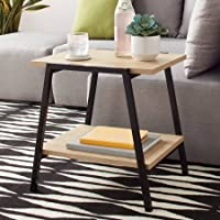 Mainstays Conrad Side End Table With Fixed Bottom Shelf for Ample Storage - Black