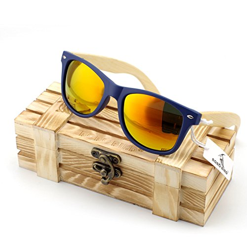 JapanX Bamboo Sunglasses & Wood Wooden Sunglasses for Men Women, Polarized Lenses Gift Box – Wooden Vintage Wayfarer Sunglasses - Bamboo Wood Wooden Frame – New Style Sunglasses (A4 - Bamboo Demolition Sunglasses Ranch