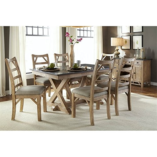 A-America West Valley 8 Piece Dining Set in Rustic Wheat