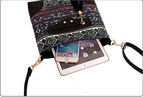 pour Zipper bandoulière toile Sac WTING Tassel à Black femme 3 Ethnique Sac bandoulière à en OHTXxz