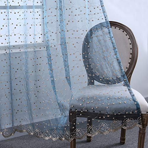 Luxurious Blue Sheer Curtains for Bedroom Grommet Embroidery Sheer Drapes for Girls Room(2 Panels,52