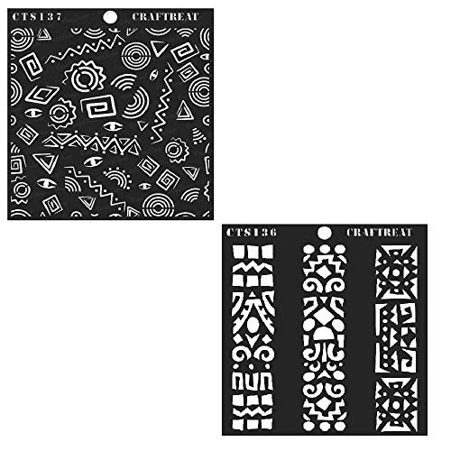 CrafTreat Stencil - Folk Art Borders & Folk Art Background (2 pcs) | Reusable Painting Template for Home Decor, Crafting, DIY Albums and Printing on Paper, Wall, Wood -