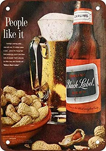 (Ufcell Metal Tin Sign 8x12 1963 Carling Black Label Beer Vintage Look Reproduction Wall Decor)
