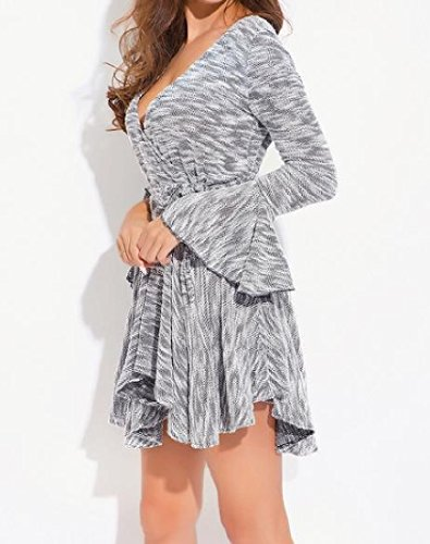 Neck Long V Mini Coolred Waist Women Dress Sleeve Accept Grey Irregular wf5Eq6xZE