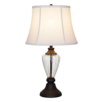 Amazon Com Ravenna Home Clear Glass Dark Bronze Table Lamp 24 25 H