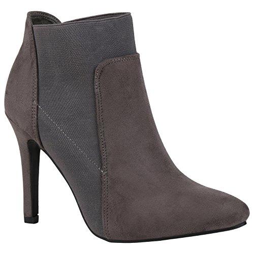 Stiefelparadies Damen Stiefeletten High Heels mit Stilettoabsatz Flandell Grau Avelar
