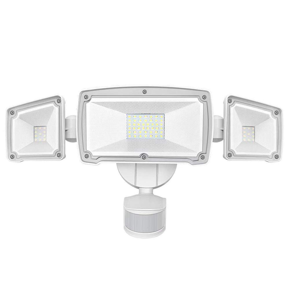 Harmonic LED Security Lights Outdoor 3500LM, 42W 6000K Super Bright Motion Sensor Light, 3 Adjustable Head, IP65 Waterproof Flood Light Outdoor for Entryways, Stairs, Yard and Garage