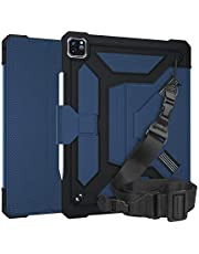"""A-BEAUTY Case for iPad Pro 12.9"""" 2020&2018 Release with [Auto Sleep/Wake] [Screen Protector] [Pencil Holder] [Handstrap Shoulder] Slim Lightweight Smart Shell Stand Cover, Blue"""