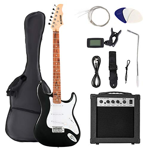 LAGRIMA 39 Inch Full Size Electric Guitar Starter Kit with 20W Amp, Case and Accessories Pack Beginner Starter Package (39, Black)