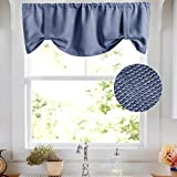 Valance 18 inch Basket Weave Textured for Kitchen Rod Pocket Cafe Curtain Room Darkening Short Drape Bathroom, 2 Panels,Blue