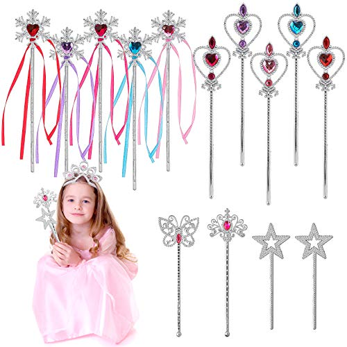 BeYumi Princess Wands Magic Fairy Wands Birthday Party Favor, Snowflake, Star, Butterfly Heart-Shaped Wands, Girl's Princess Pretend Play Toy for Kids Wands Gift Pack of 14