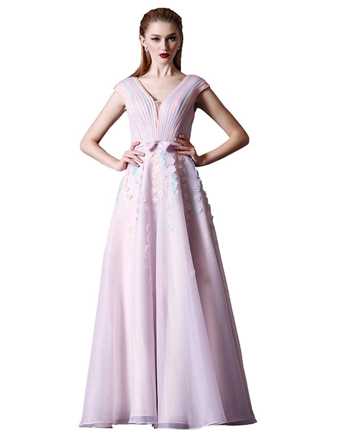 Beauty-Emily Long Bow-Tie A-Line Pleated Cap Sleeve Double V-Neck Evening Gowns
