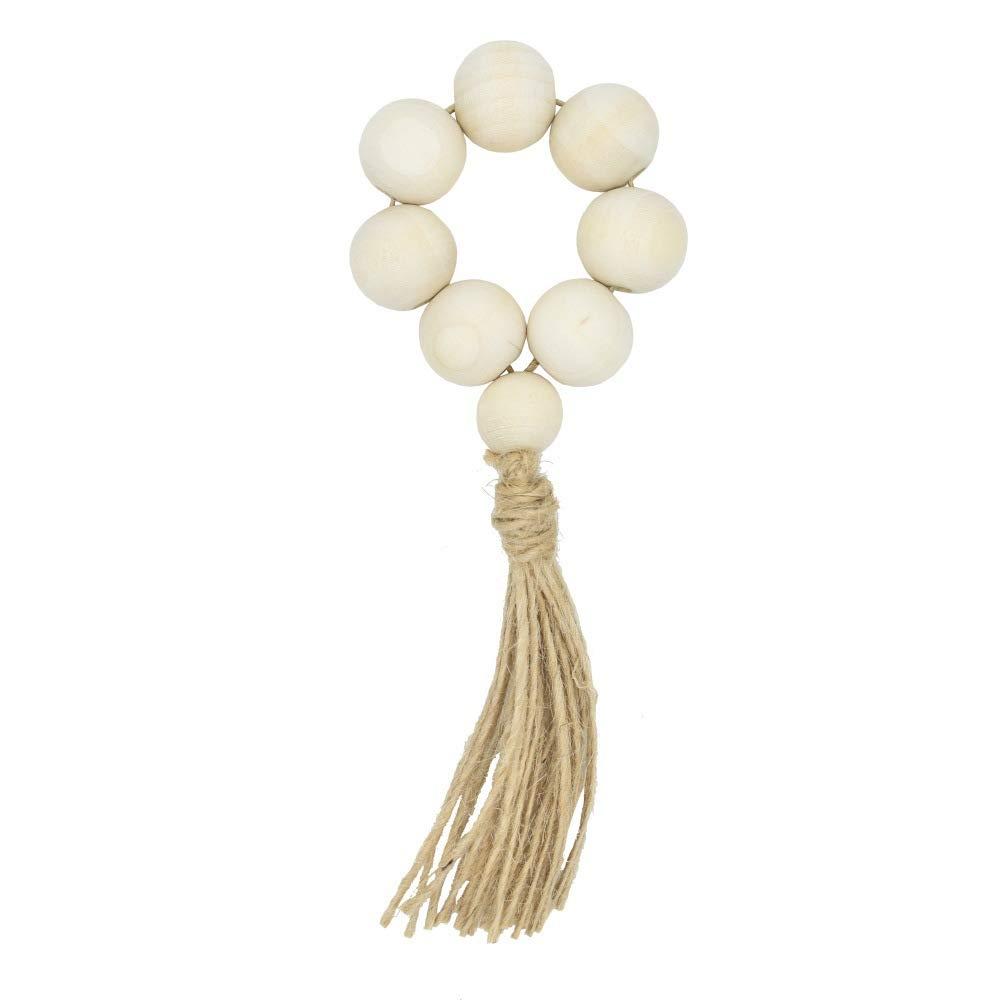 Elehere Beaded Napkin Rings Set of 12 Tassel Napkin Holder Boho Table Decor Gift, Eco-Friendly Jute Twine Handmade